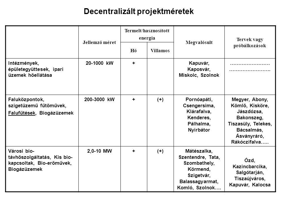 Decentralizált projektméretek Jellemző méret Termelt/hasznosított energia Megvalósult Tervek vagy próbálkozások HőVillamos Intézmények, épületegyüttes