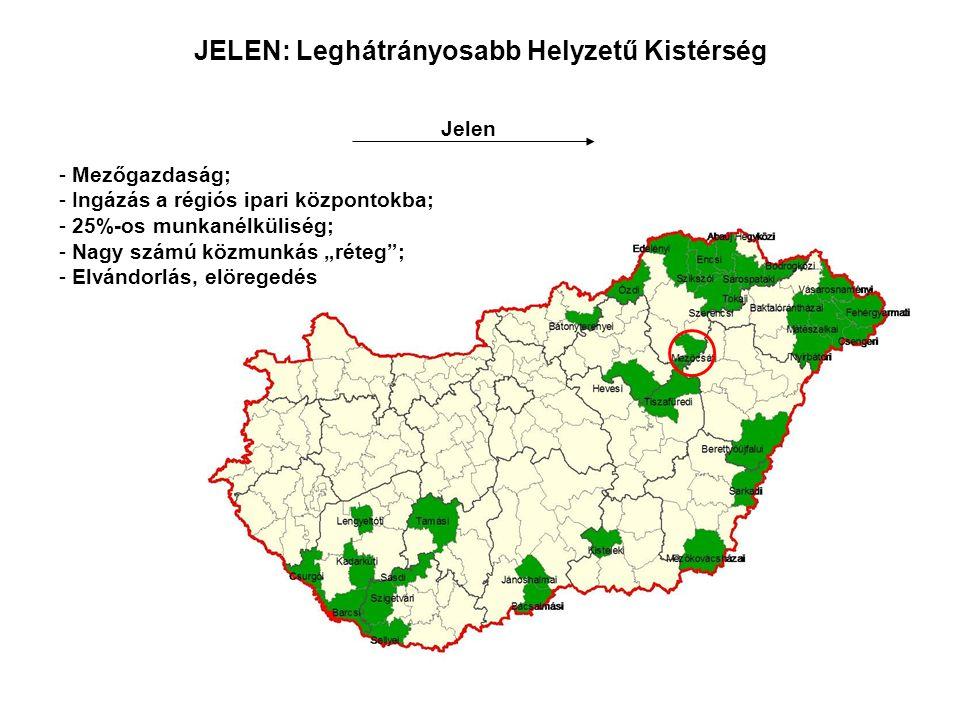 JELEN: Leghátrányosabb Helyzetű Kistérség Jelen - Mezőgazdaság; - Ingázás a régiós ipari központokba; - 25%-os munkanélküliség; - Nagy számú közmunkás