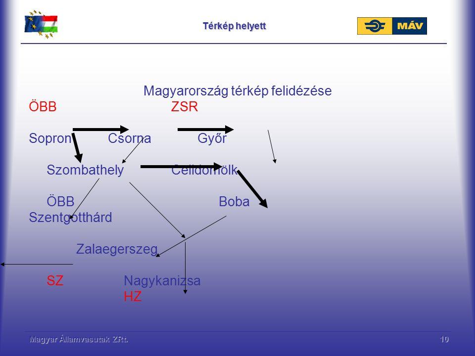 Magyar Államvasutak ZRt.10 Térkép helyett Magyarország térkép felidézése ÖBBZSR Sopron Csorna Győr SzombathelyCelldömölk ÖBBBoba Szentgotthárd Zalaege