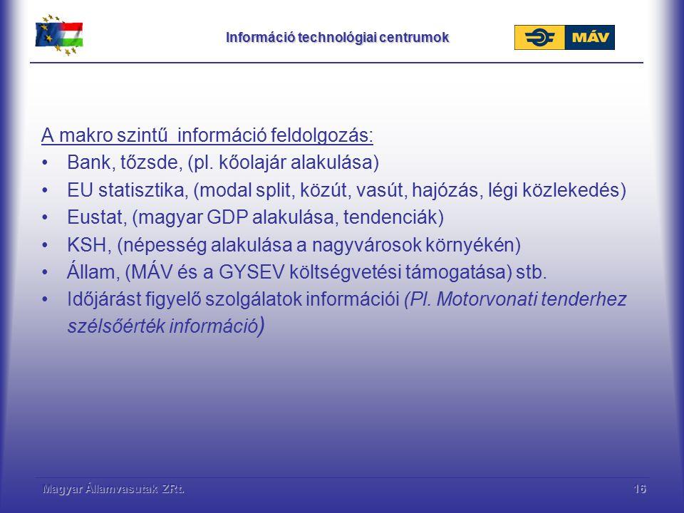 Magyar Államvasutak ZRt.16 Információ technológiai centrumok A makro szintű információ feldolgozás: Bank, tőzsde, (pl. kőolajár alakulása) EU statiszt