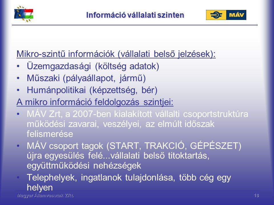 Magyar Államvasutak ZRt.18 Információ vállalati szinten Mikro-szintű információk (vállalati belső jelzések): Üzemgazdasági (költség adatok) Műszaki (p