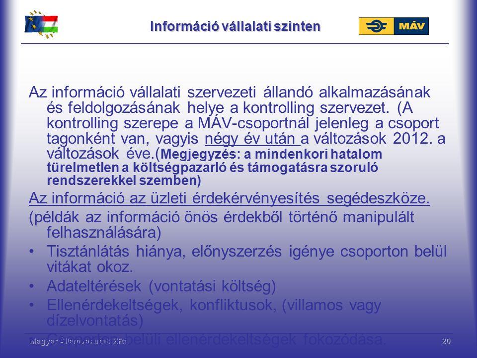 Magyar Államvasutak ZRt.20 Információ vállalati szinten Az információ vállalati szervezeti állandó alkalmazásának és feldolgozásának helye a kontrolling szervezet.