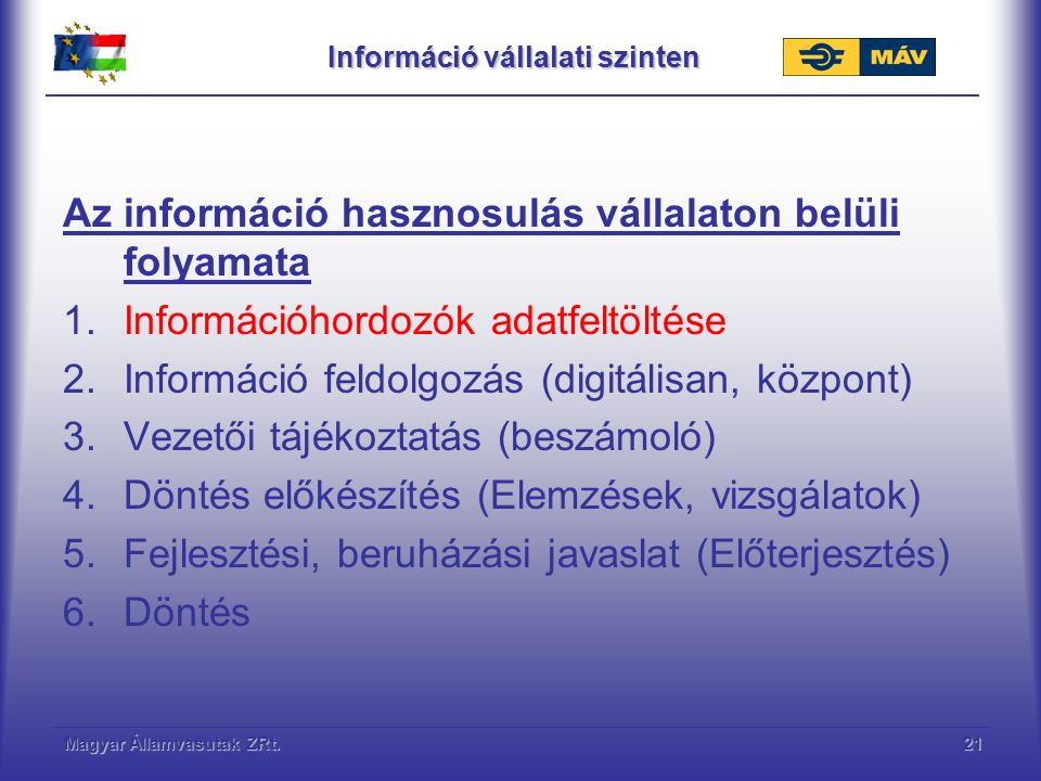 Magyar Államvasutak ZRt.21 Információ vállalati szinten Az információ hasznosulás vállalaton belüli folyamata 1.Információhordozók adatfeltöltése 2.Információ feldolgozás (digitálisan, központ) 3.Vezetői tájékoztatás (beszámoló) 4.Döntés előkészítés (Elemzések, vizsgálatok) 5.Fejlesztési, beruházási javaslat (Előterjesztés) 6.Döntés