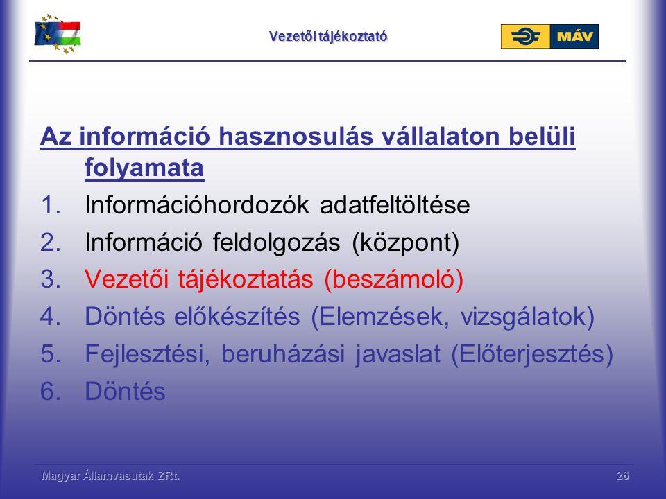 Magyar Államvasutak ZRt.26 Vezetői tájékoztató Az információ hasznosulás vállalaton belüli folyamata 1.Információhordozók adatfeltöltése 2.Információ feldolgozás (központ) 3.Vezetői tájékoztatás (beszámoló) 4.Döntés előkészítés (Elemzések, vizsgálatok) 5.Fejlesztési, beruházási javaslat (Előterjesztés) 6.Döntés