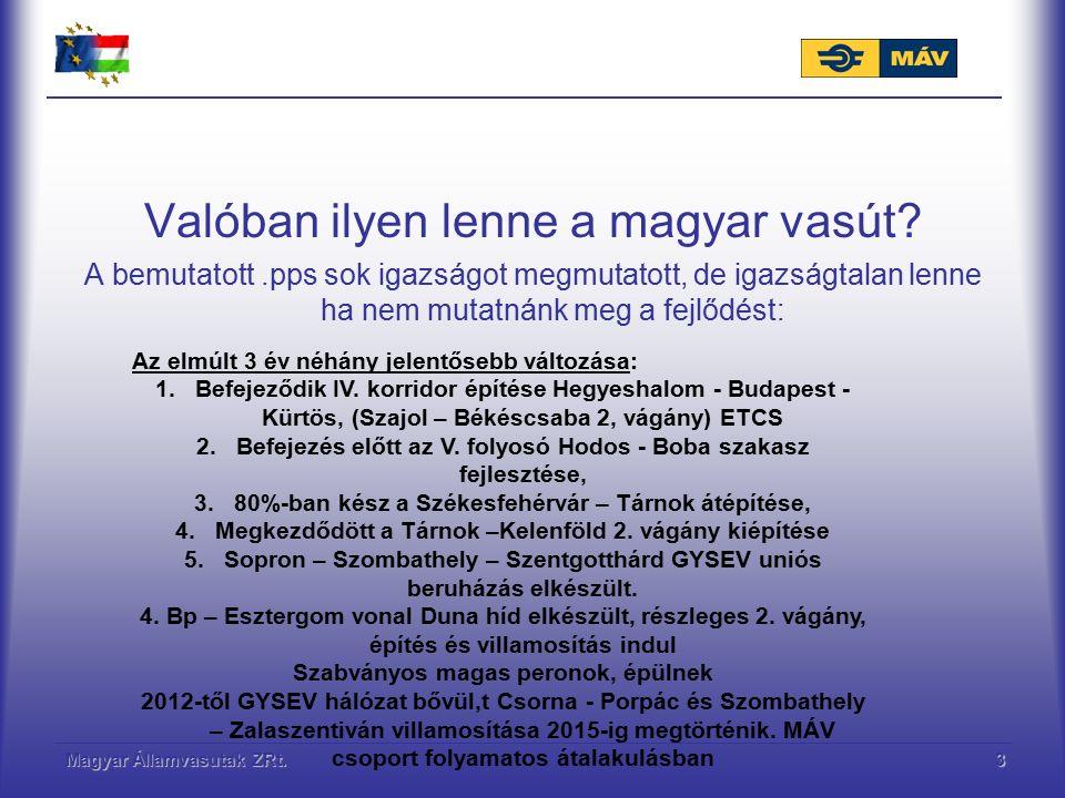 Magyar Államvasutak ZRt.4 Beruházás előtt, tervezés kész: Keleti, Hatvan - Miskolc 200km/h vizsgálat alatt Szolnok – Záhony átépítés eng.