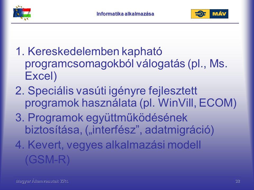 Magyar Államvasutak ZRt.32 Informatika alkalmazása 1. Kereskedelemben kapható programcsomagokból válogatás (pl., Ms. Excel) 2. Speciális vasúti igényr
