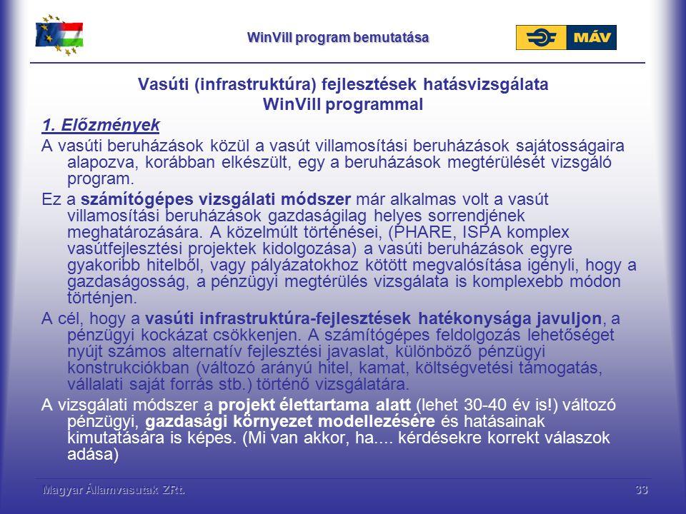 Magyar Államvasutak ZRt.33 WinVill program bemutatása Vasúti (infrastruktúra) fejlesztések hatásvizsgálata WinVill programmal 1. Előzmények A vasúti b