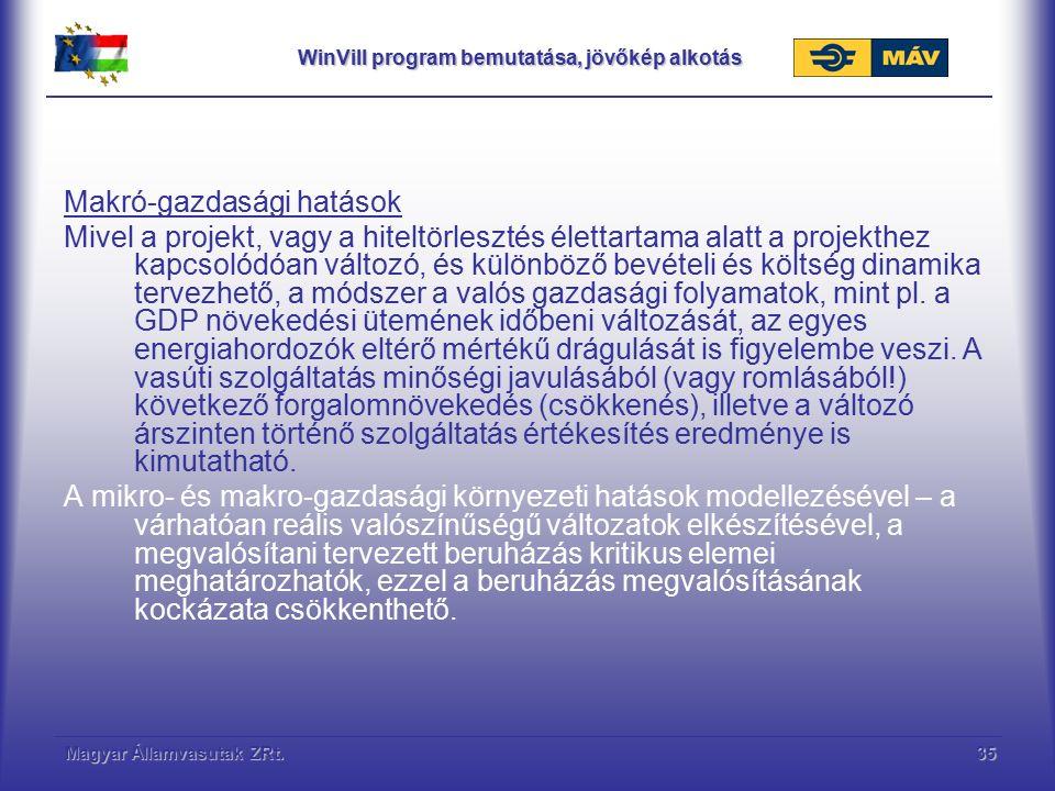 Magyar Államvasutak ZRt.35 WinVill program bemutatása, jövőkép alkotás Makró-gazdasági hatások Mivel a projekt, vagy a hiteltörlesztés élettartama ala