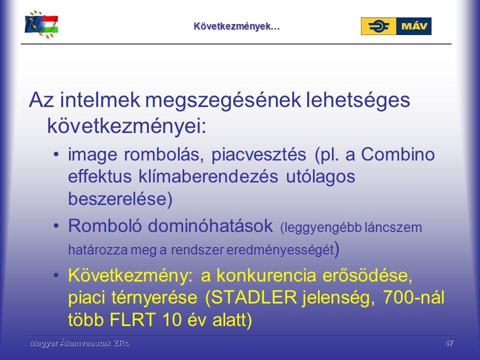 Magyar Államvasutak ZRt.47Következmények… Az intelmek megszegésének lehetséges következményei: image rombolás, piacvesztés (pl. a Combino effektus klí
