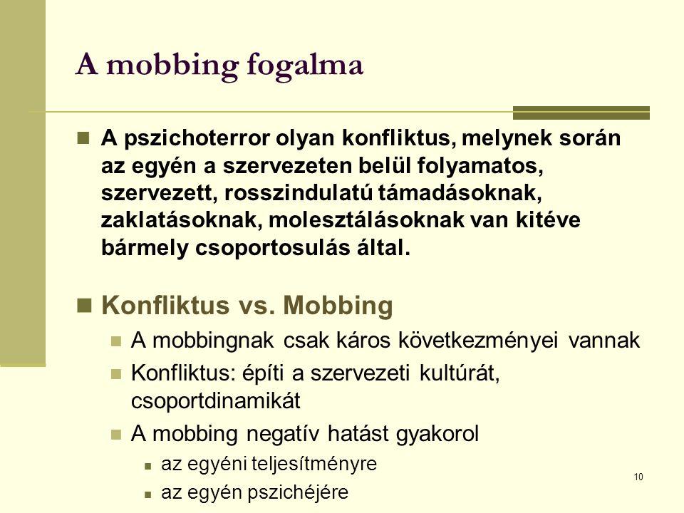 A mobbing fogalma A pszichoterror olyan konfliktus, melynek során az egyén a szervezeten belül folyamatos, szervezett, rosszindulatú támadásoknak, zaklatásoknak, molesztálásoknak van kitéve bármely csoportosulás által.