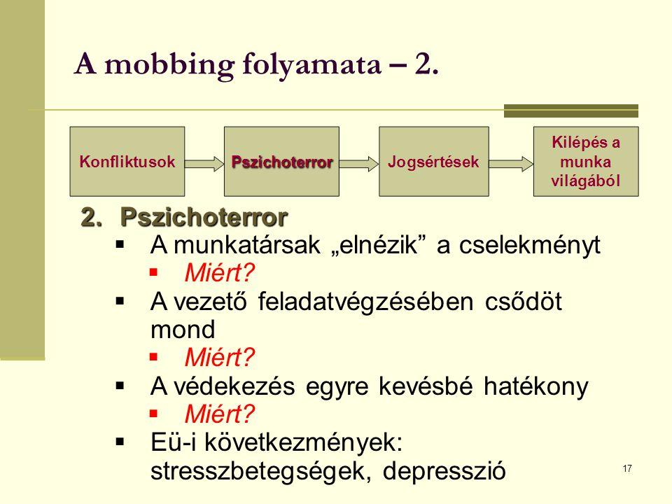 """A mobbing folyamata – 2. 17 2.Pszichoterror  A munkatársak """"elnézik a cselekményt  Miért."""