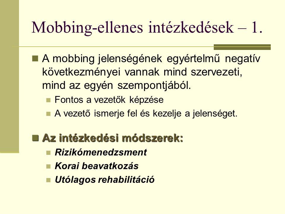 Mobbing-ellenes intézkedések – 1.