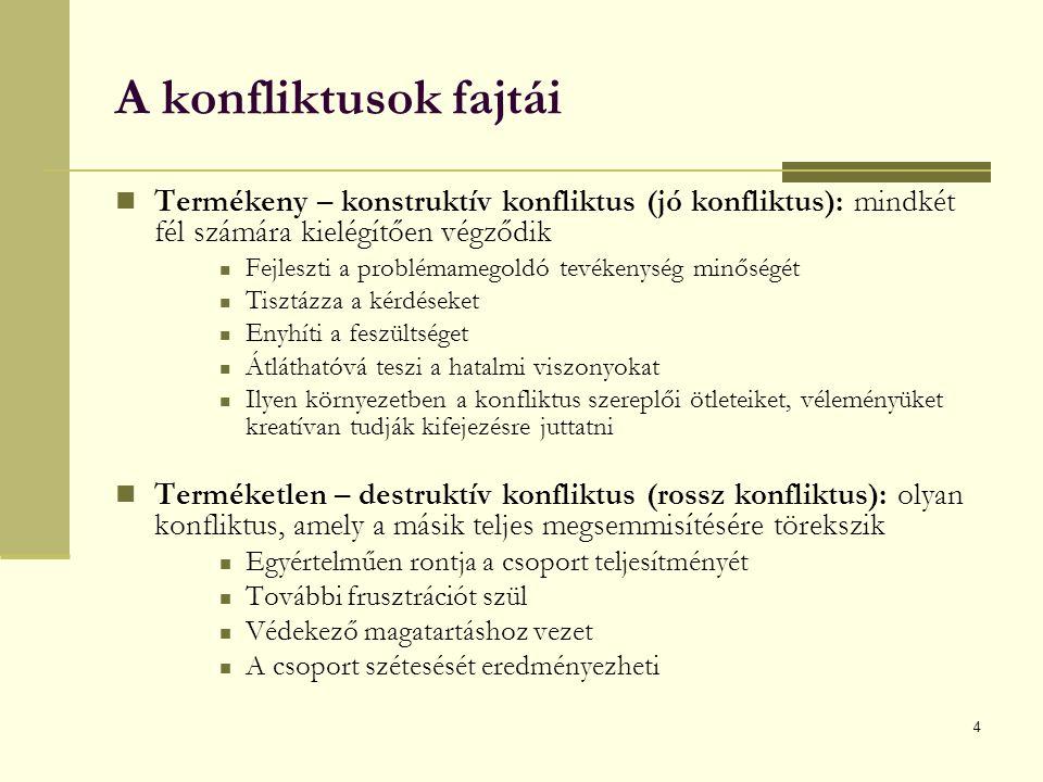4 A konfliktusok fajtái Termékeny – konstruktív konfliktus (jó konfliktus): mindkét fél számára kielégítően végződik Fejleszti a problémamegoldó tevékenység minőségét Tisztázza a kérdéseket Enyhíti a feszültséget Átláthatóvá teszi a hatalmi viszonyokat Ilyen környezetben a konfliktus szereplői ötleteiket, véleményüket kreatívan tudják kifejezésre juttatni Terméketlen – destruktív konfliktus (rossz konfliktus): olyan konfliktus, amely a másik teljes megsemmisítésére törekszik Egyértelműen rontja a csoport teljesítményét További frusztrációt szül Védekező magatartáshoz vezet A csoport szétesését eredményezheti