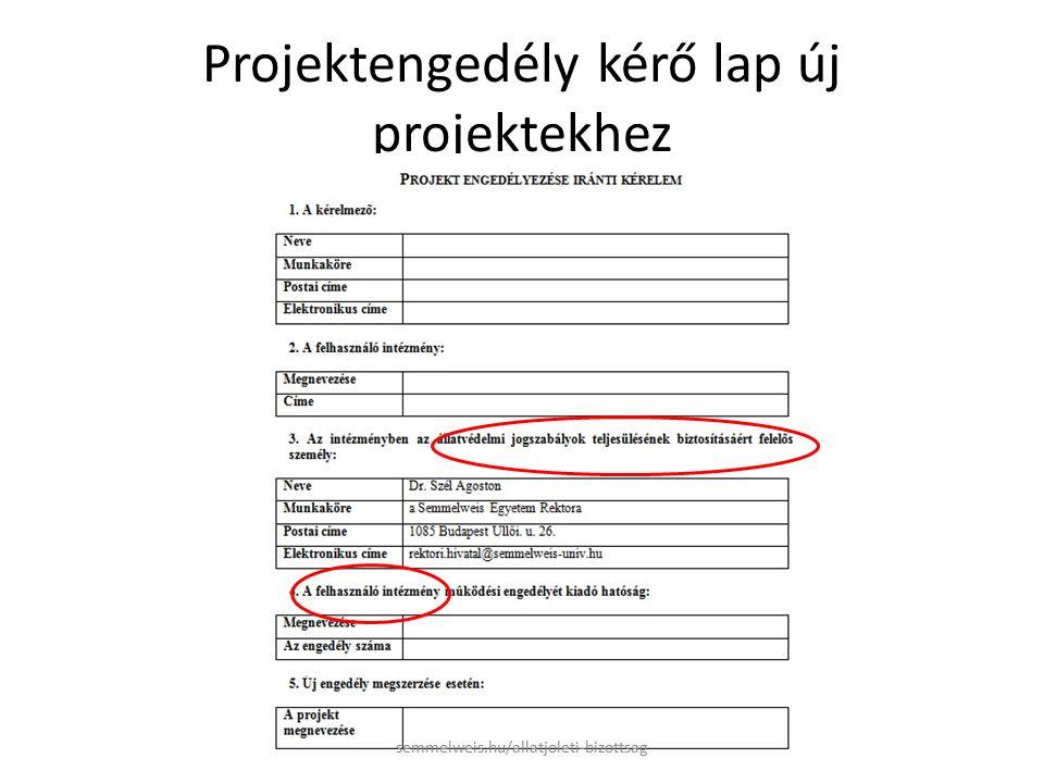 Projektengedély kérő lap új projektekhez semmelweis.hu/allatjoleti-bizottsag