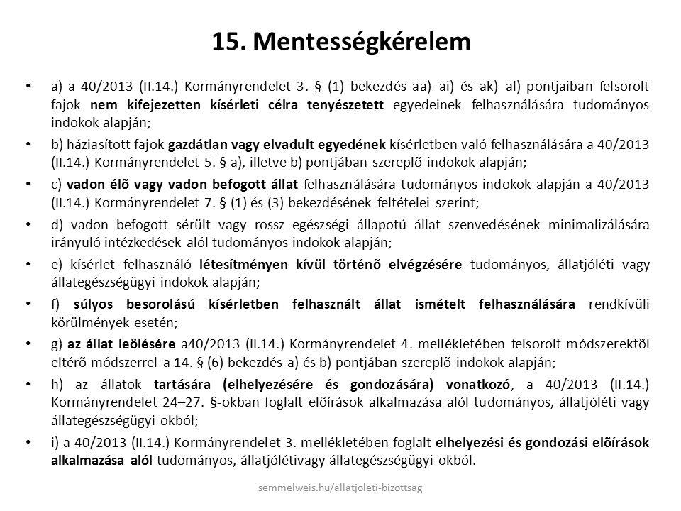 15. Mentességkérelem a) a 40/2013 (II.14.) Kormányrendelet 3.