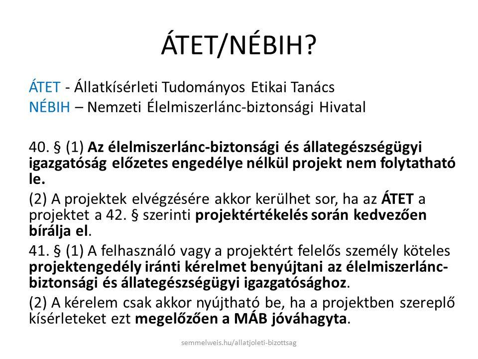 NÉBIH honlap www.nebih.hu https://www.nebih.gov.hu/szakteruletek/szakter uletek/aai/nyomtatvanyok_aai/aai_nyomtatvany ok.html Állatkísérlet végzésére szóló engedély iránti kérelem a 40/2013.