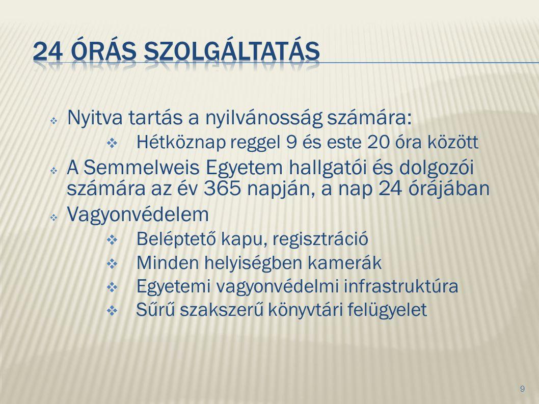  Nyitva tartás a nyilvánosság számára:  Hétköznap reggel 9 és este 20 óra között  A Semmelweis Egyetem hallgatói és dolgozói számára az év 365 napj