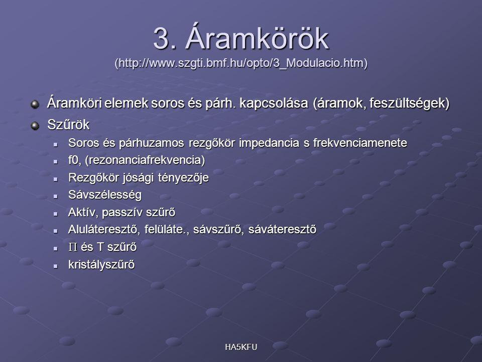 HA5KFU 3. Áramkörök (http://www.szgti.bmf.hu/opto/3_Modulacio.htm) Áramköri elemek soros és párh.