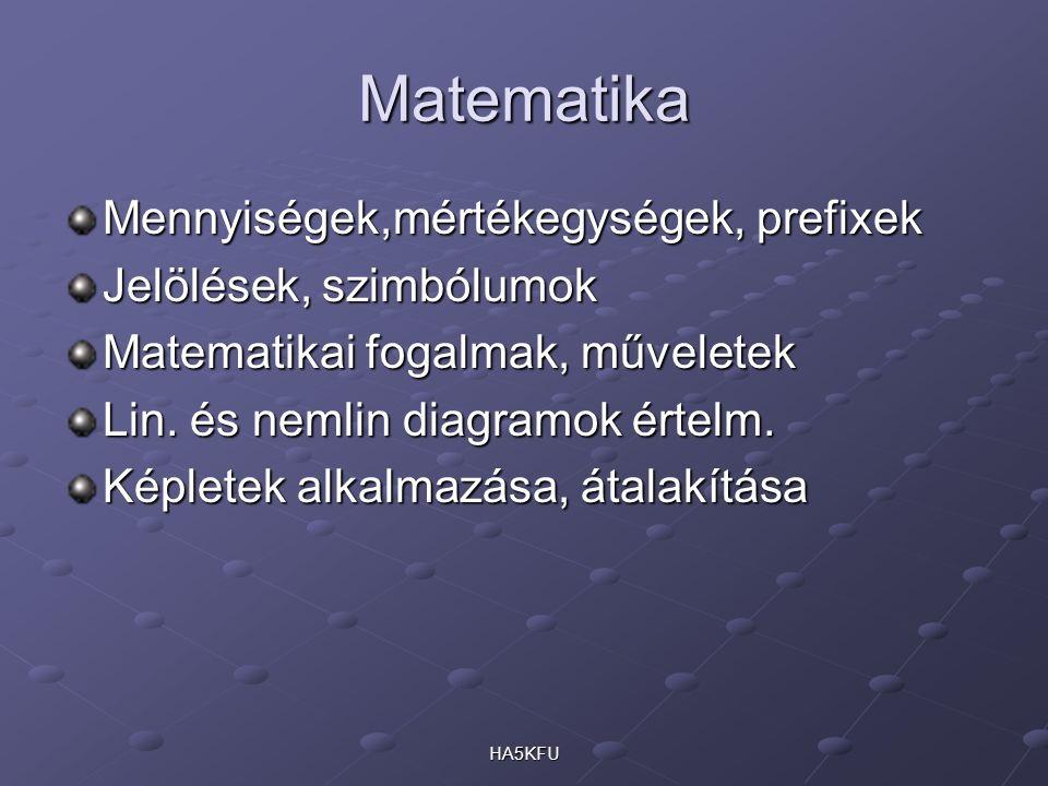 Matematika Mennyiségek,mértékegységek, prefixek Jelölések, szimbólumok Matematikai fogalmak, műveletek Lin. és nemlin diagramok értelm. Képletek alkal