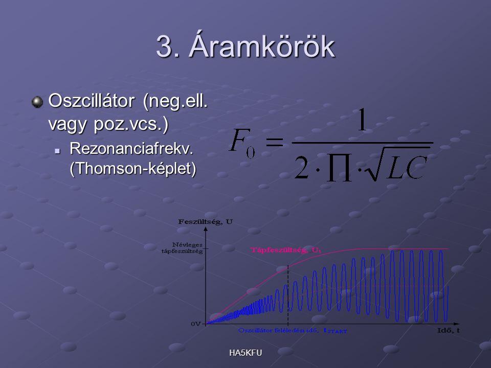 HA5KFU 3. Áramkörök Oszcillátor (neg.ell. vagy poz.vcs.) Rezonanciafrekv. (Thomson-képlet) Rezonanciafrekv. (Thomson-képlet)