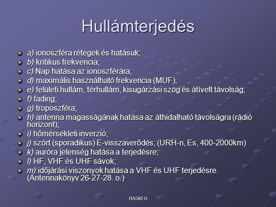 HA5KFU Hullámterjedés a) ionoszféra rétegek és hatásuk; b) kritikus frekvencia; c) Nap hatása az ionoszférára; d) maximális használható frekvencia (MU