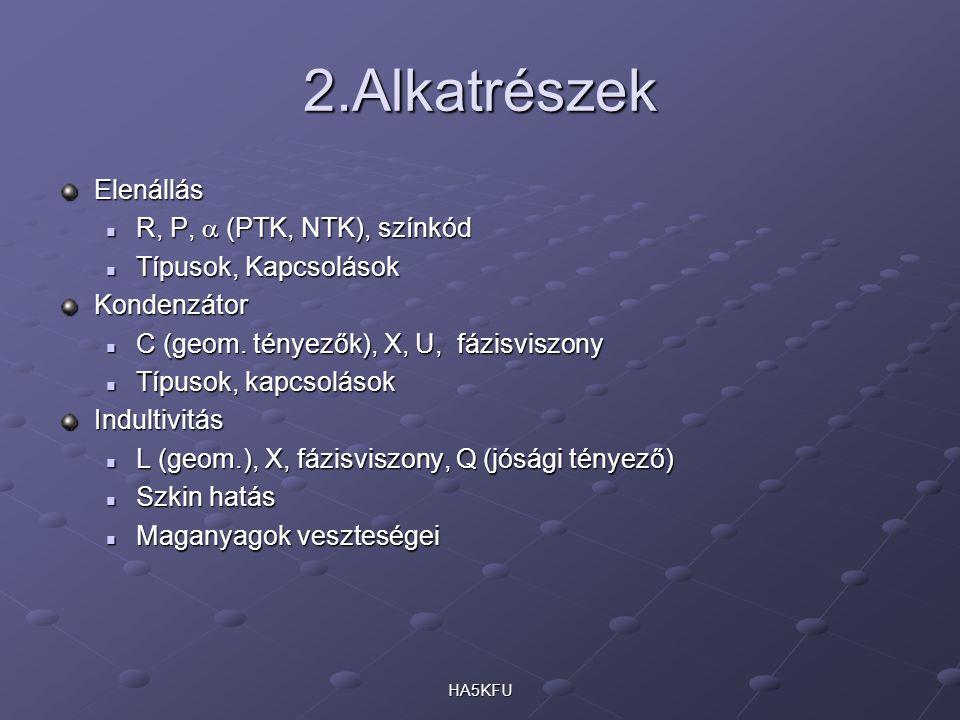 HA5KFU 2.Alkatrészek Elenállás R, P,  (PTK, NTK), színkód R, P,  (PTK, NTK), színkód Típusok, Kapcsolások Típusok, KapcsolásokKondenzátor C (geom.