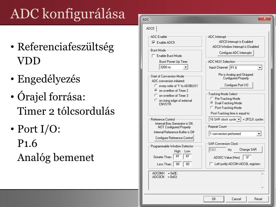 ADC konfigurálása Referenciafeszültség VDD Engedélyezés Órajel forrása: Timer 2 tólcsordulás Port I/O: P1.6 Analóg bemenet 8