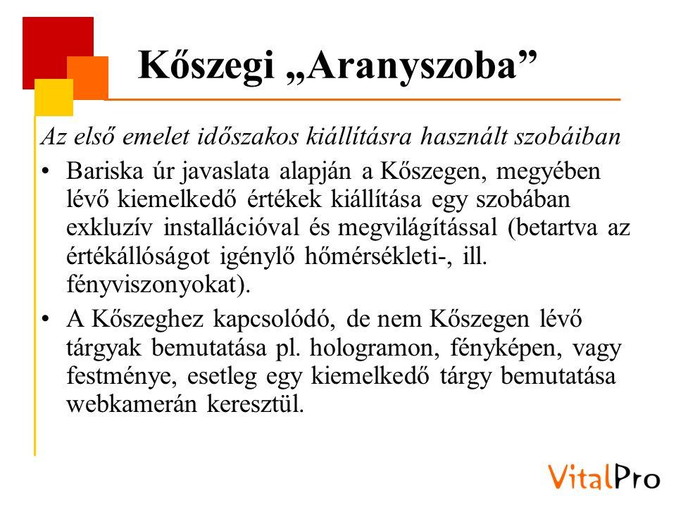 """Kőszegi """"Aranyszoba"""" Az első emelet időszakos kiállításra használt szobáiban Bariska úr javaslata alapján a Kőszegen, megyében lévő kiemelkedő értékek"""