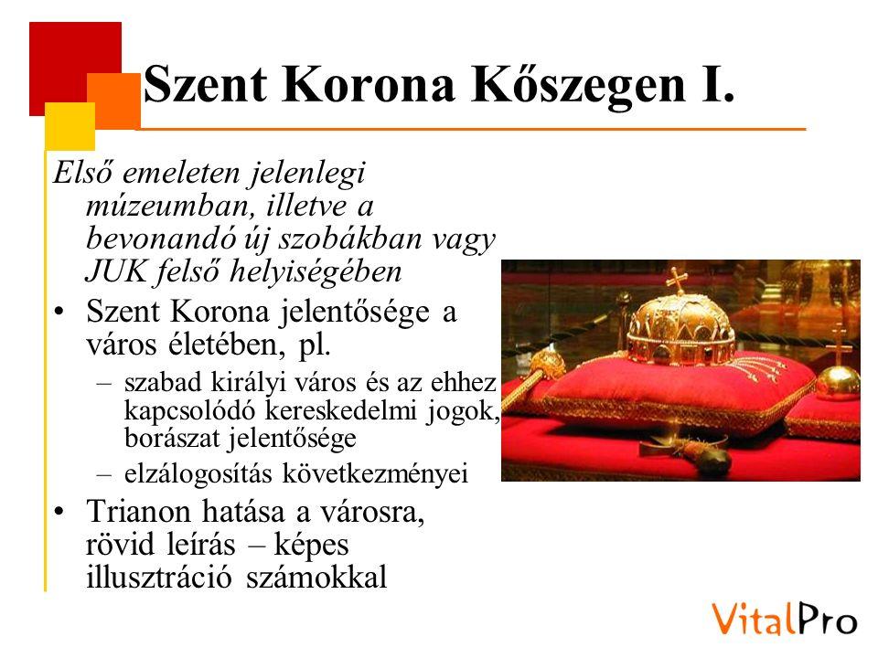 Szent Korona Kőszegen I. Első emeleten jelenlegi múzeumban, illetve a bevonandó új szobákban vagy JUK felső helyiségében Szent Korona jelentősége a vá