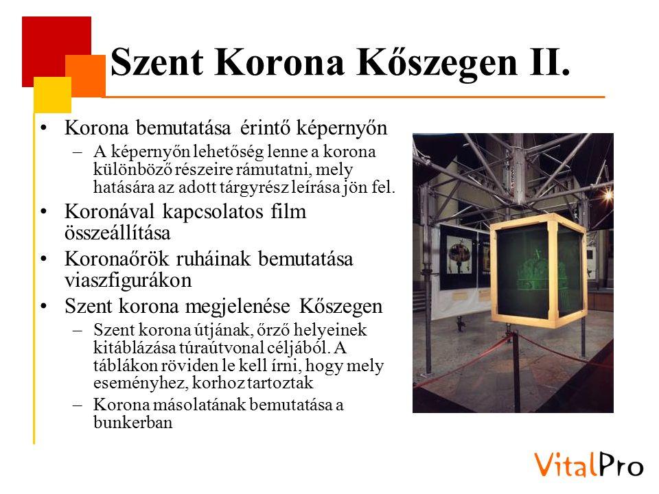 Szent Korona Kőszegen II. Korona bemutatása érintő képernyőn –A képernyőn lehetőség lenne a korona különböző részeire rámutatni, mely hatására az adot
