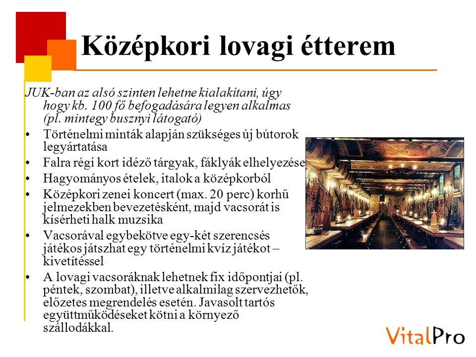 Középkori lovagi étterem JUK-ban az alsó szinten lehetne kialakítani, úgy hogy kb. 100 fő befogadására legyen alkalmas (pl. mintegy busznyi látogató)