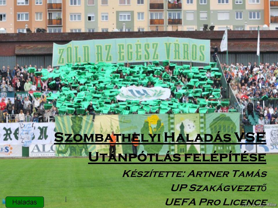 Szombathelyi Haladás VSE Utánpótlás felépítése Készítette: Artner Tamás UP Szakágvezet ő UEFA Pro Licence Haladas