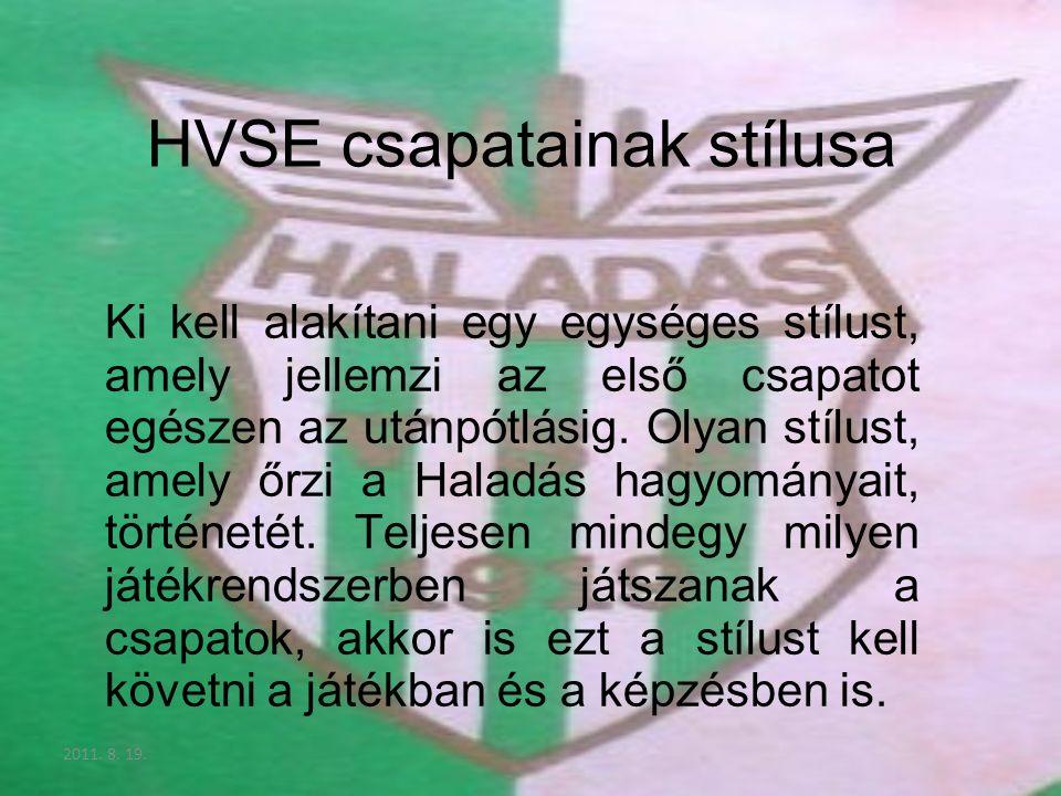 2011. 8. 19. HVSE csapatainak stílusa Ki kell alakítani egy egységes stílust, amely jellemzi az első csapatot egészen az utánpótlásig. Olyan stílust,