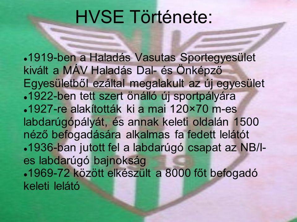 HVSE Története: 1919-ben a Haladás Vasutas Sportegyesület kivált a MÁV Haladás Dal- és Önképző Egyesületből ezáltal megalakult az új egyesület 1922-ben tett szert önálló új sportpályára 1927-re alakították ki a mai 120×70 m-es labdarúgópályát, és annak keleti oldalán 1500 néző befogadására alkalmas fa fedett lelátót 1936-ban jutott fel a labdarúgó csapat az NB/I- es labdarúgó bajnokság 1969-72 között elkészült a 8000 főt befogadó keleti lelátó