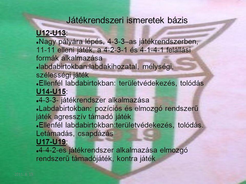 2011. 8. 19. Játékrendszeri ismeretek bázis U12-U13: Nagy pályára lépés, 4-3-3–as játékrendszerben, 11-11 elleni játék, a 4-2-3-1 és 4-1-4-1 felállási