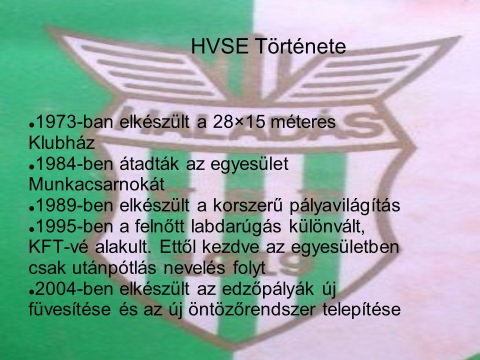 HVSE Története 1973-ban elkészült a 28×15 méteres Klubház 1984-ben átadták az egyesület Munkacsarnokát 1989-ben elkészült a korszerű pályavilágítás 1995-ben a felnőtt labdarúgás különvált, KFT-vé alakult.
