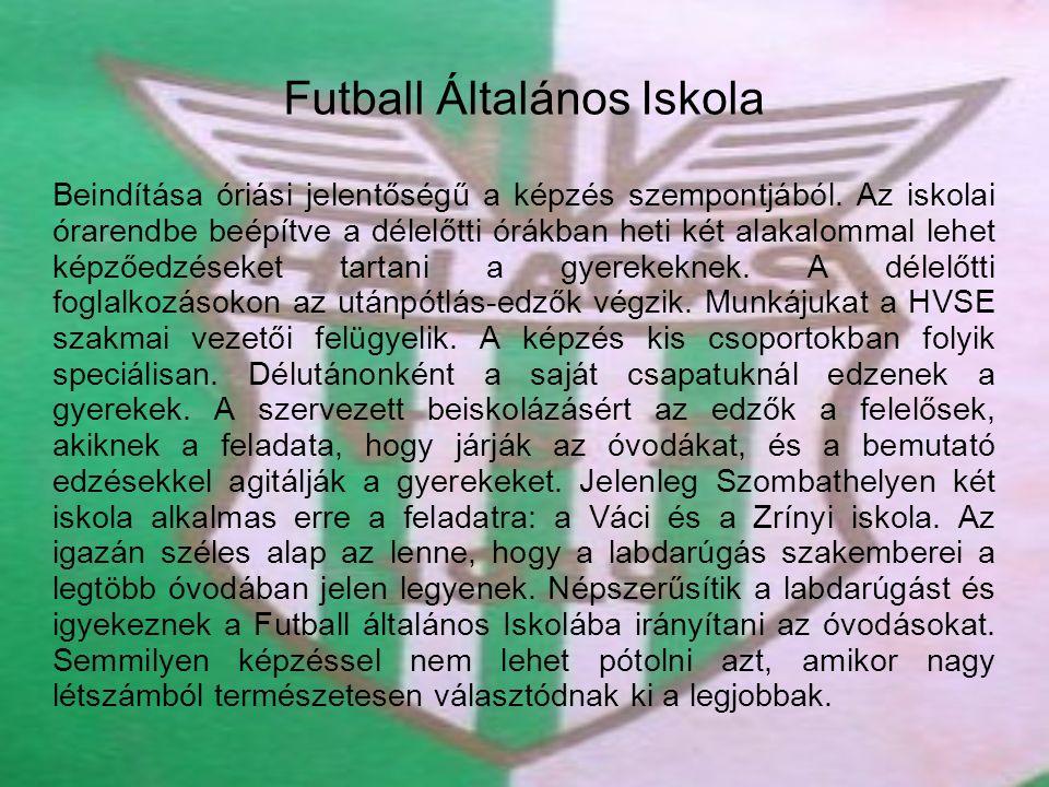 Futball Általános Iskola Beindítása óriási jelentőségű a képzés szempontjából. Az iskolai órarendbe beépítve a délelőtti órákban heti két alakalommal