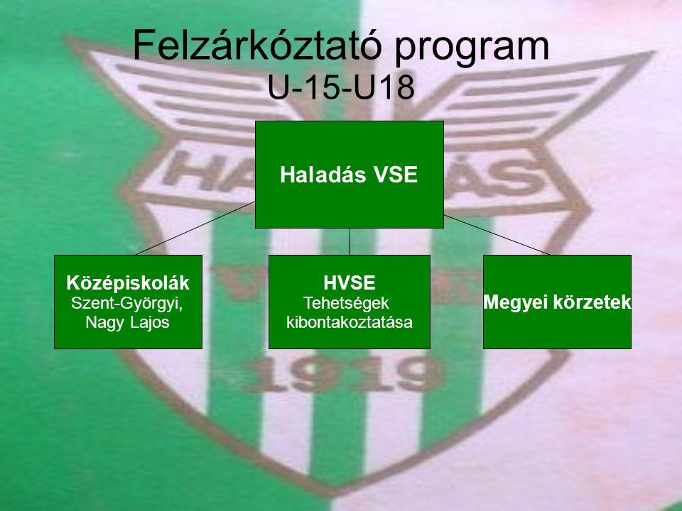 Felzárkóztató program U-15-U18 Haladás VSE Megyei körzetek Középiskolák Szent-Györgyi, Nagy Lajos HVSE Tehetségek kibontakoztatása