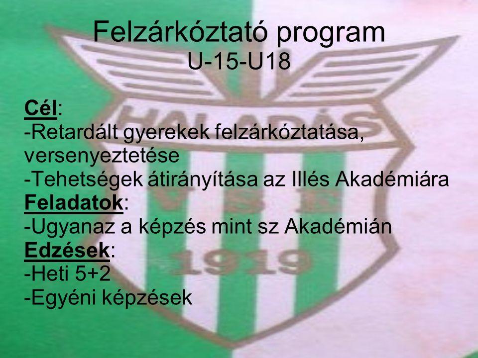 Felzárkóztató program U-15-U18 Cél: -Retardált gyerekek felzárkóztatása, versenyeztetése -Tehetségek átirányítása az Illés Akadémiára Feladatok: -Ugyanaz a képzés mint sz Akadémián Edzések: -Heti 5+2 -Egyéni képzések