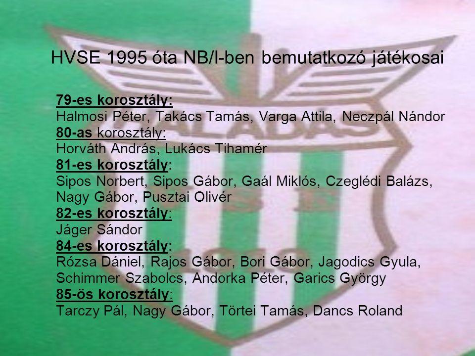 HVSE 1995 óta NB/I-ben bemutatkozó játékosai 79-es korosztály: Halmosi Péter, Takács Tamás, Varga Attila, Neczpál Nándor 80-as korosztály: Horváth And