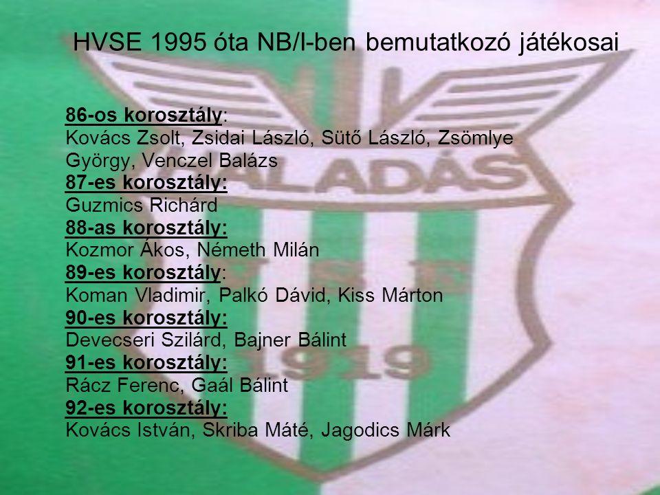 HVSE 1995 óta NB/I-ben bemutatkozó játékosai 86-os korosztály: Kovács Zsolt, Zsidai László, Sütő László, Zsömlye György, Venczel Balázs 87-es korosztá