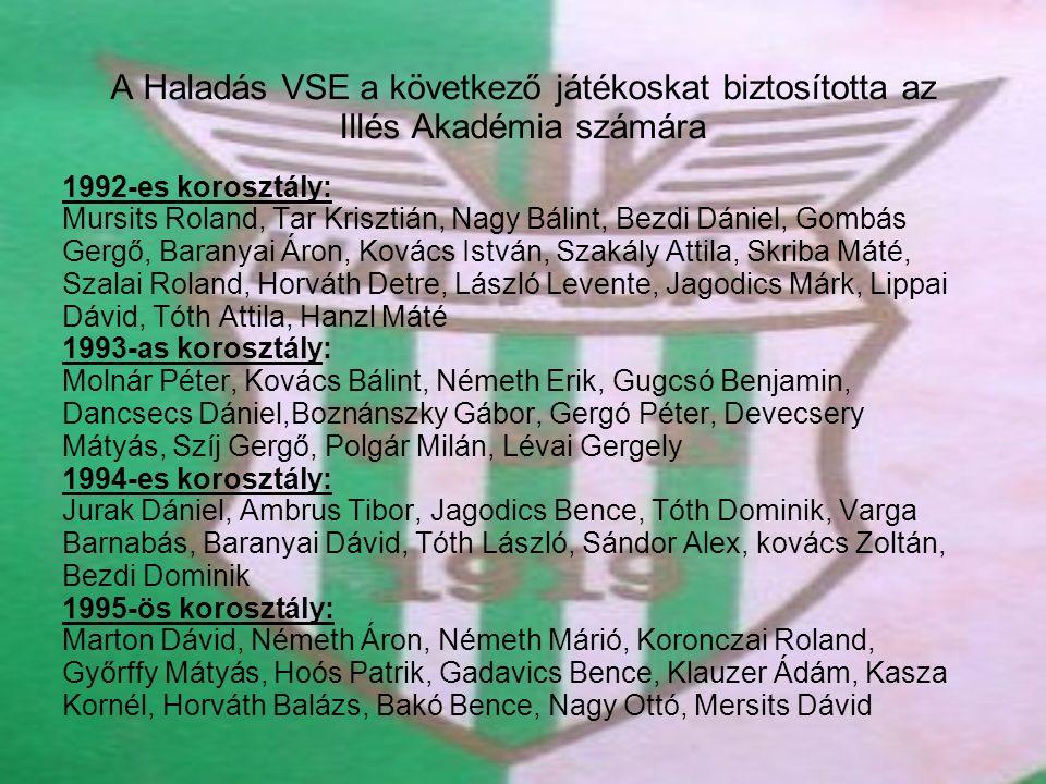 A Haladás VSE a következő játékoskat biztosította az Illés Akadémia számára 1992-es korosztály: Mursits Roland, Tar Krisztián, Nagy Bálint, Bezdi Dáni