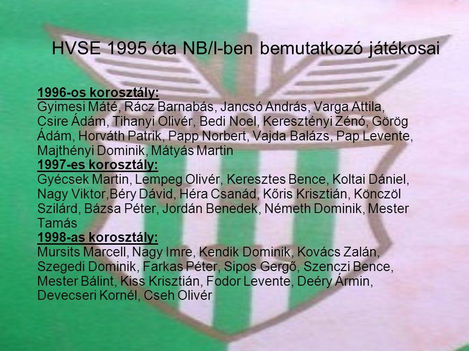 HVSE 1995 óta NB/I-ben bemutatkozó játékosai 1996-os korosztály: Gyimesi Máté, Rácz Barnabás, Jancsó András, Varga Attila, Csire Ádám, Tihanyi Olivér,