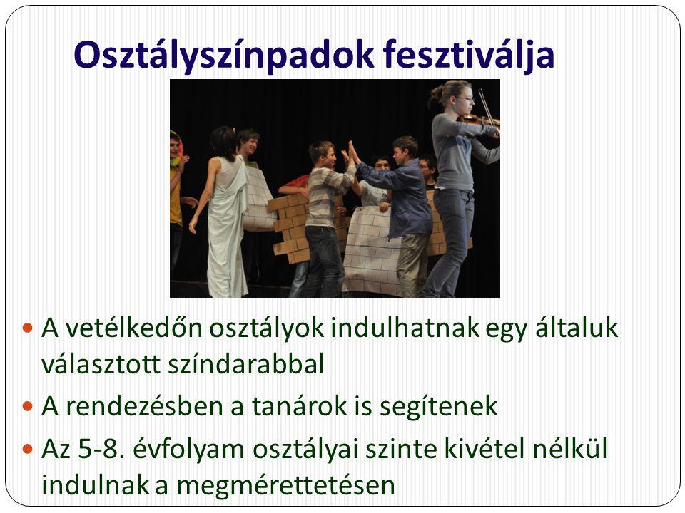 Osztályszínpadok fesztiválja A vetélkedőn osztályok indulhatnak egy általuk választott színdarabbal A rendezésben a tanárok is segítenek Az 5-8.
