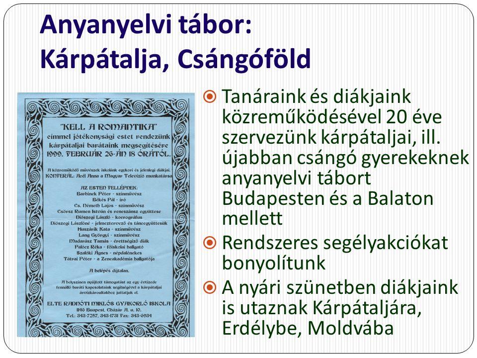 Anyanyelvi tábor: Kárpátalja, Csángóföld  Tanáraink és diákjaink közreműködésével 20 éve szervezünk kárpátaljai, ill.