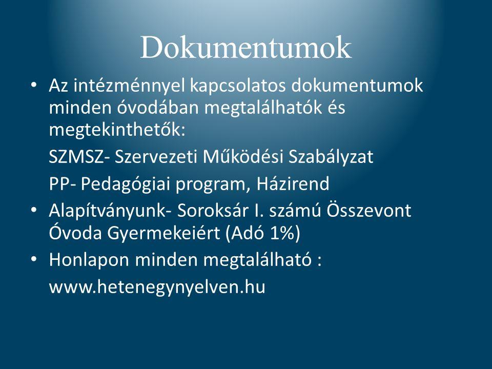 Dokumentumok Az intézménnyel kapcsolatos dokumentumok minden óvodában megtalálhatók és megtekinthetők: SZMSZ- Szervezeti Működési Szabályzat PP- Pedagógiai program, Házirend Alapítványunk- Soroksár I.