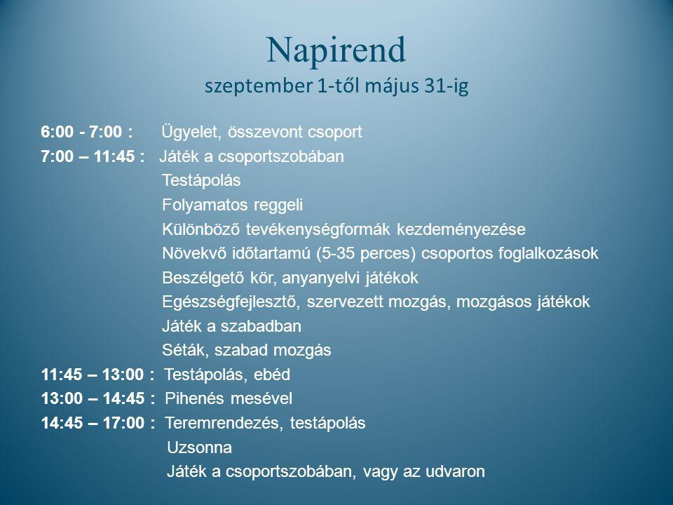 Napirend szeptember 1-től május 31-ig 6:00 - 7:00 : Ügyelet, összevont csoport 7:00 – 11:45 : Játék a csoportszobában Testápolás Folyamatos reggeli Különböző tevékenységformák kezdeményezése Növekvő időtartamú (5-35 perces) csoportos foglalkozások Beszélgető kör, anyanyelvi játékok Egészségfejlesztő, szervezett mozgás, mozgásos játékok Játék a szabadban Séták, szabad mozgás 11:45 – 13:00 : Testápolás, ebéd 13:00 – 14:45 : Pihenés mesével 14:45 – 17:00 : Teremrendezés, testápolás Uzsonna Játék a csoportszobában, vagy az udvaron