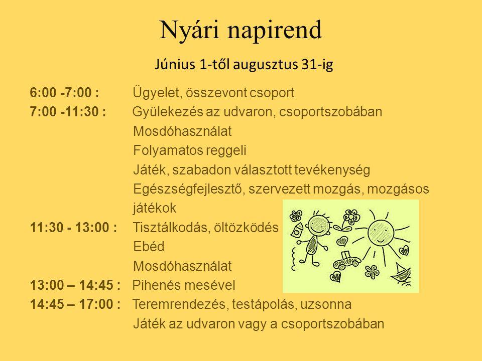 Nyári napirend Június 1-től augusztus 31-ig 6:00 -7:00 : Ügyelet, összevont csoport 7:00 -11:30 : Gyülekezés az udvaron, csoportszobában Mosdóhasználat Folyamatos reggeli Játék, szabadon választott tevékenység Egészségfejlesztő, szervezett mozgás, mozgásos játékok 11:30 - 13:00 : Tisztálkodás, öltözködés Ebéd Mosdóhasználat 13:00 – 14:45 : Pihenés mesével 14:45 – 17:00 : Teremrendezés, testápolás, uzsonna Játék az udvaron vagy a csoportszobában