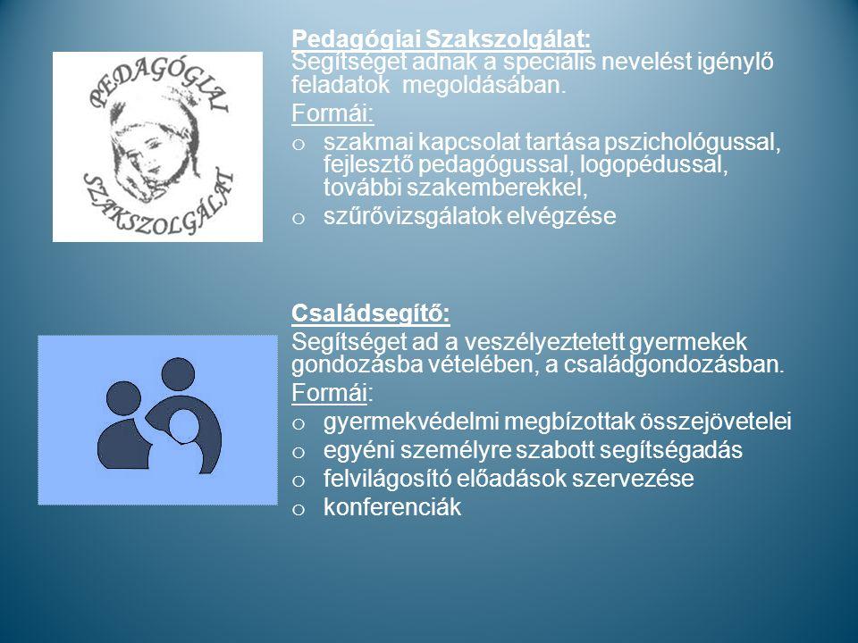Pedagógiai Szakszolgálat: Segítséget adnak a speciális nevelést igénylő feladatok megoldásában.