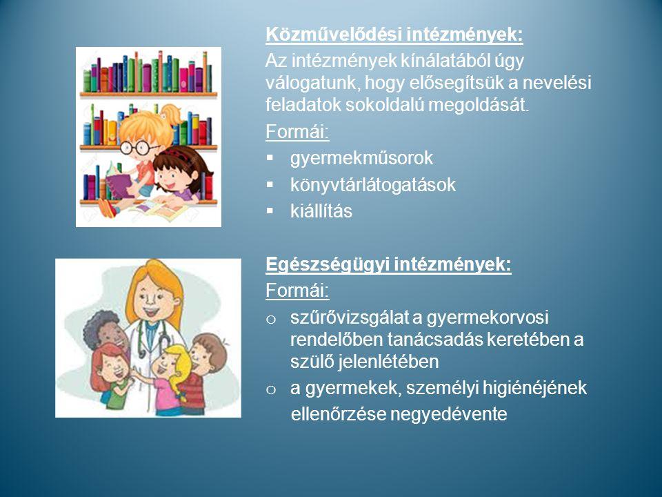 Közművelődési intézmények: Az intézmények kínálatából úgy válogatunk, hogy elősegítsük a nevelési feladatok sokoldalú megoldását.
